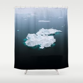 Minimalistc Iceberg during a hazy day with dark foreground Shower Curtain