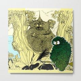 Leaf Owl & The Cuddling Koalas. Metal Print