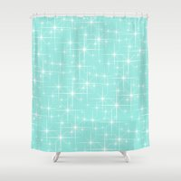 50s Shower Curtains featuring Glitter Tiffany Blue by Beautiful Homes