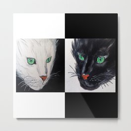 Black and White Cat Metal Print