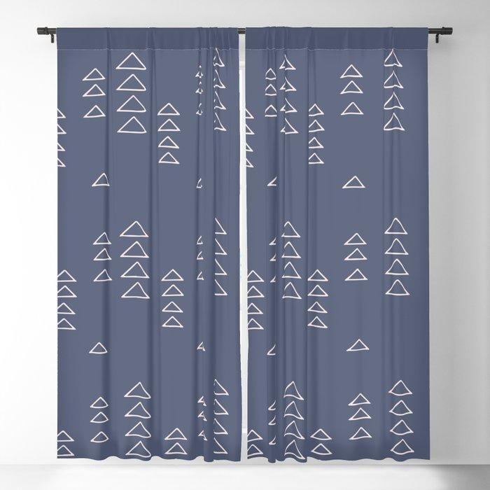 Modern Minimalist Triangle Pattern in Slate Blue Blackout Curtain