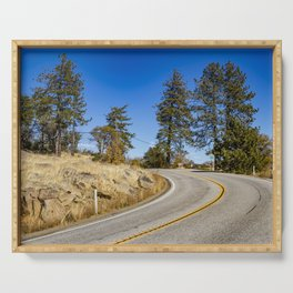 Empty Highway Road Cutting through Pine Trees and Golden Meadow in Lake Cuyamaca Serving Tray