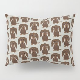 Longhaired Chocolate Dachshund Cartoon Dog Pillow Sham