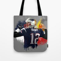 patriots Tote Bags featuring Tom Brady by J Maldonado
