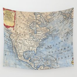 Vintage Map of North America (1747) Wall Tapestry