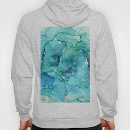 Teal Chrome Flowing Abstract Ink Hoody