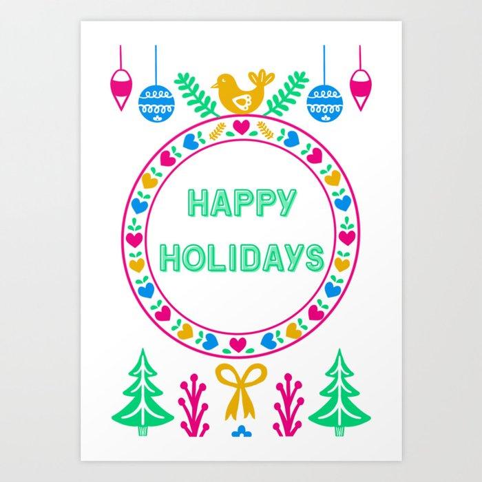 Bright Cheery Happy Holidays Art Print