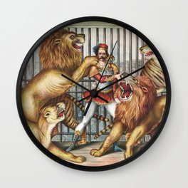 The Lion Tamer - Vintage Circus Art, 1873 Wall Clock