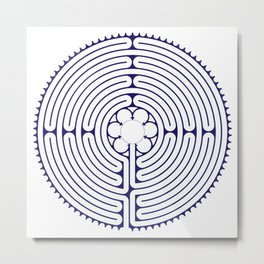 Cathedral of Our Lady of Chartres Labyrinth - Blue Metal Print