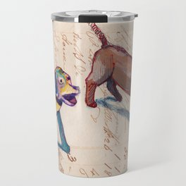 Vintage Metal Dogs with Spring Tails in Mixed Media Travel Mug