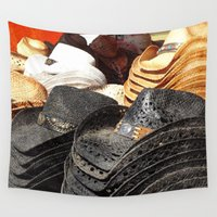 hats Wall Tapestries featuring Cowboy Hats - Grunge by Tiffany Dawn Smith