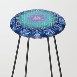Flower Of Life Mandala Fractal turquoise Counter Stool