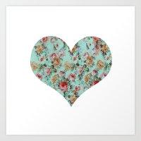 Vintage Heart  Art Print