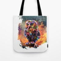 trex Tote Bags featuring brave little owl by ururuty