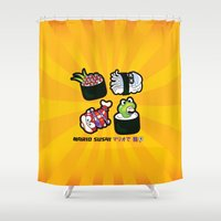 super mario Shower Curtains featuring Super Mario Sushi by thickblackoutline