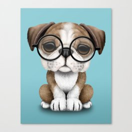Cute English Bulldog Puppy Wearing Glasses on Blue Canvas Print