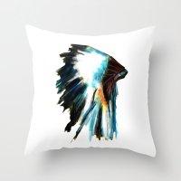 headdress Throw Pillows featuring Headdress by James Peart