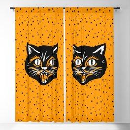 Vintage Type Halloween Black Cat Face Stars Orange Blackout Curtain
