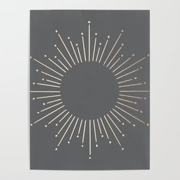 Simply Sunburst in White Gold Sands on Storm Gray Poster