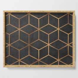 Charcoal and Gold - Geometric Textured Cube Design I Serving Tray