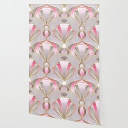 Rose Pink, Grey and Gold Art Deco Wallpaper