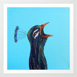 Singing Peacock Art Print