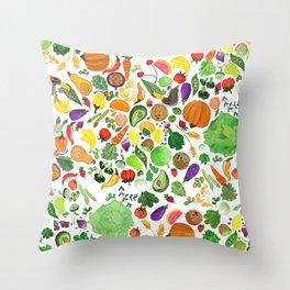 Fruit and Veg Pattern Throw Pillow