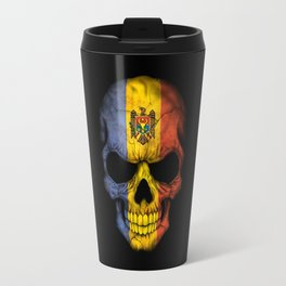 Dark Skull with Flag of Moldova Travel Mug