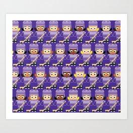 Super cute sports stars - Ice Hockey Purple Girls Art Print