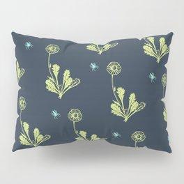 Spider Daisies (green + navy) Pillow Sham