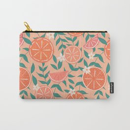 Floral Citrus in Pink Carry-All Pouch