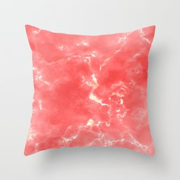 Living coral white modern abstract marble Throw Pillow