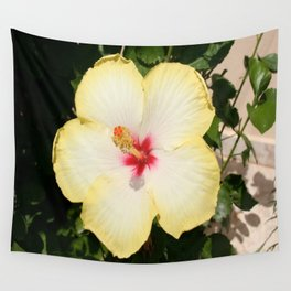 Pale Yellow Hibiscus Flower - Front View  Wall Tapestry
