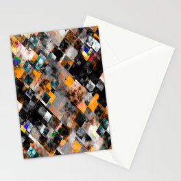geometric pixel square pattern abstract art in orange brown blue Stationery Cards