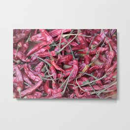 Red chili spicy pattern Metal Print