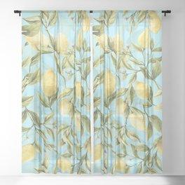 mediterranean summer lemon branches on turquoise Sheer Curtain