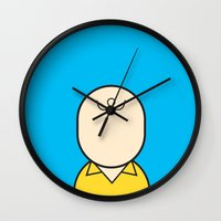 charlie Wall Clocks featuring Charlie by Ale Giorgini