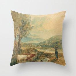 "J.M.W. Turner ""Lulworth Castle, Dorset"" Throw Pillow"