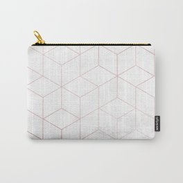 Rose Gold Geometric White Mable Cubes Carry-All Pouch
