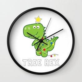 Dinosaur Tree Rex Xmas Wall Clock