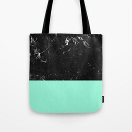 Mint Meets Black Marble #1 #decor #art #society6 Tote Bag