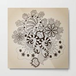 Brown Sketch Art. Zentangle Metal Print