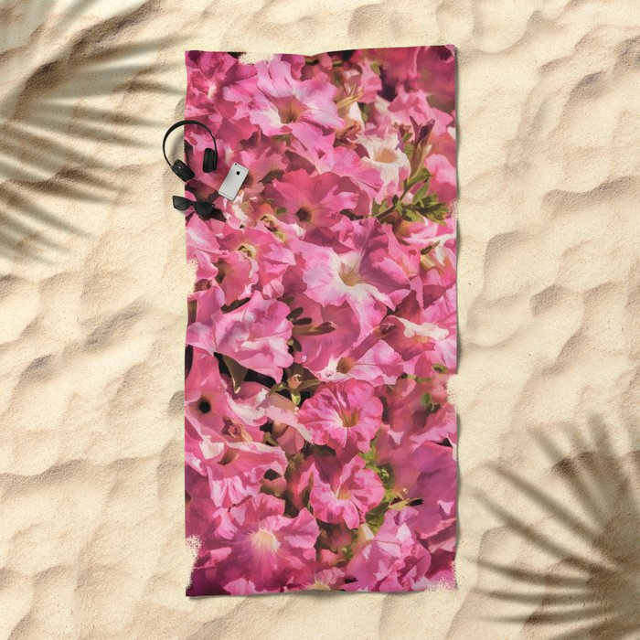 Vintage Pretty Pink Petunias Beach Towel