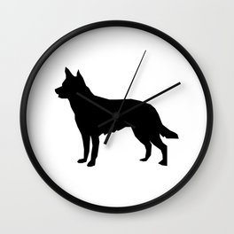 Australian Kelpie dog silhouette dog breed pattern black and white kelpie dog Wall Clock