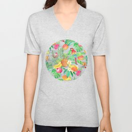 Tropical Paradise Fruit & Parrot Pattern Unisex V-Neck