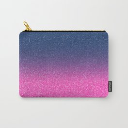 Trendy Metallic Royal Blue Hot Pink Glitter Gradient Carry-All Pouch
