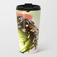 Wasp on flower 6 Metal Travel Mug