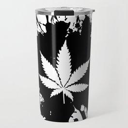 Canabis Black and white Travel Mug