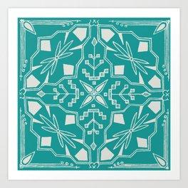 Turquoise Batik Art Print