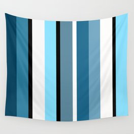 Blue white black stripes pattern Wall Tapestry